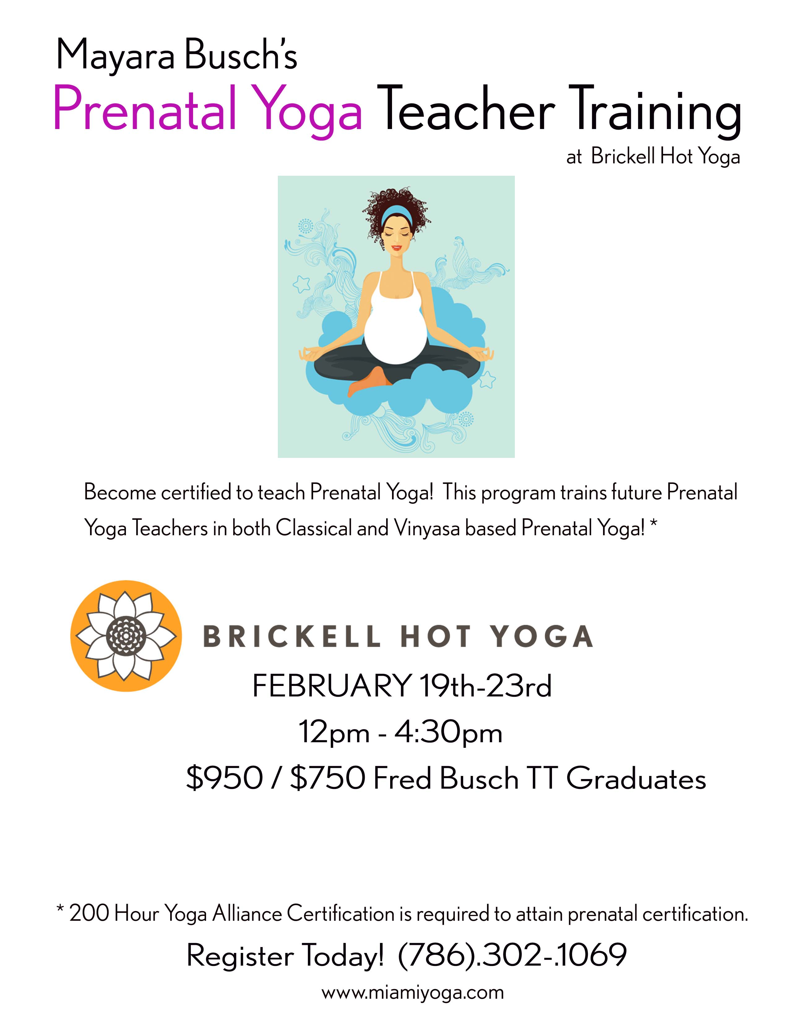 Prenatal Yoga Teacher Training Miami Yoga